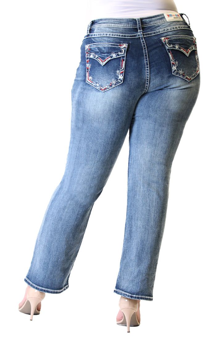 Americana Embellished Plus Size Straight-Leg Jeans | PS-3267