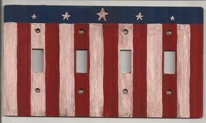 Primitive flag four switch plate cover