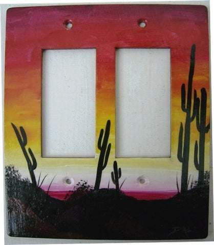 Desert sunset scene double rocker switch plate cover