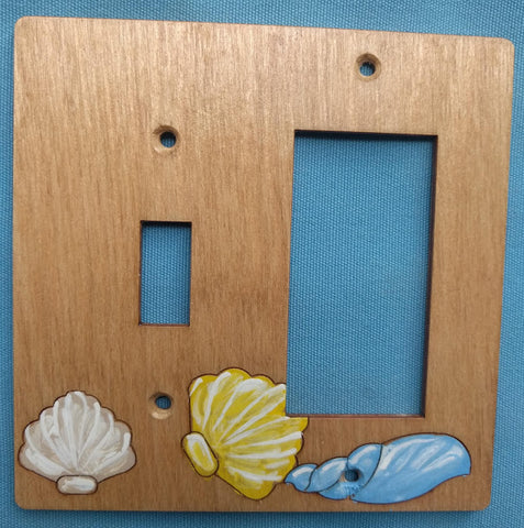 Seashell single switch and rocker right switch plate cover