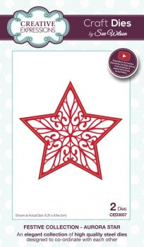 Aurora Star Festive Collection Creative Expressions Craft Dies by Sue Wilson CED3057