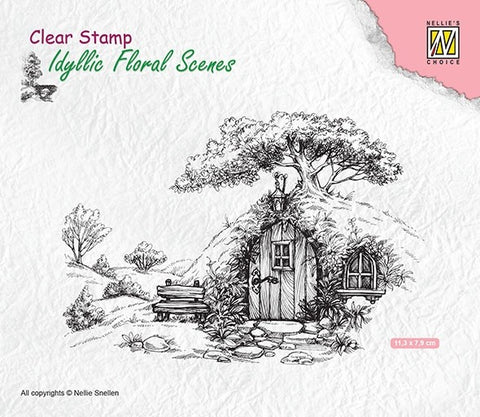 Nellie Snellen Clear Stamps Idyllic Floral Scene - With Old House - IFS012