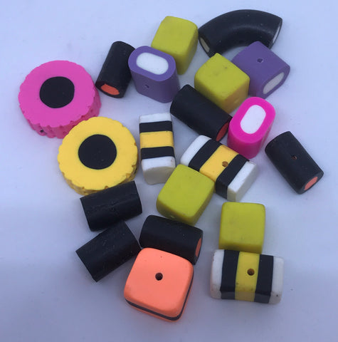 Liquorice Allsorts Polymer Clay Beads Assorted Large Approx 20pcs Beads TRC387.