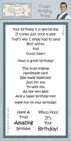 Classic Birthday Verses Clear Stamp Set By Phill Martin SYC008