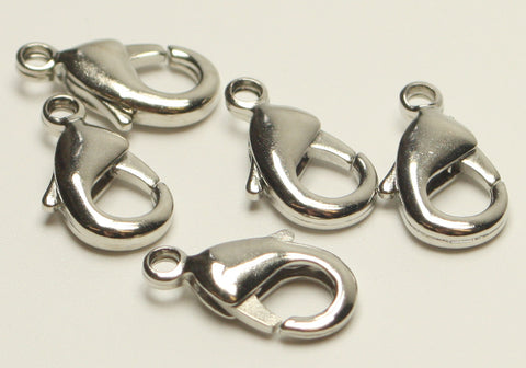 Lobster Claw Clasp Grade AA 15mm Nickle & Lead Free 5pcs. TRC119