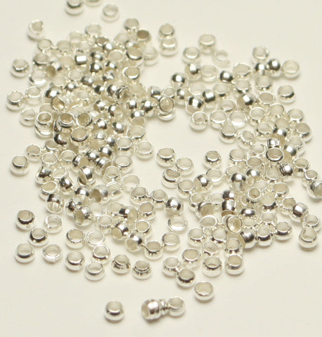 Silver Plated Crimp Beads Nickel Free 2mm Approx 900pcs. TRC223