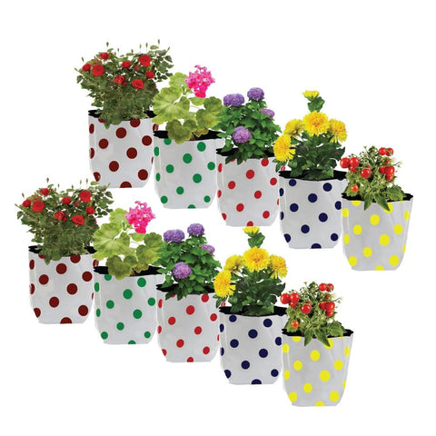 SMALL POTS AND PLANTERS ONLINE - Set of 10 premium colourful Dotted Grow bags(20*20*35 cms)