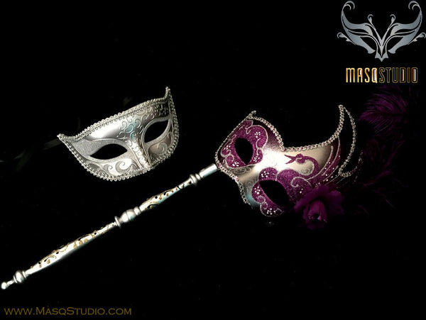 Venetian Couple Feather Masquerade Stick Mask Set Silver Purple