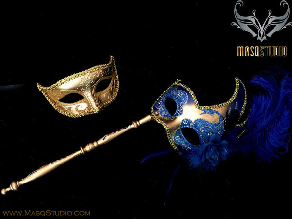 Venetian Couple Feather Masquerade Stick Mask Set Gold Blue