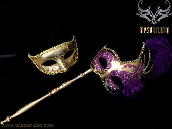 Venetian Couple Feather Masquerade Stick Mask Set Gold Purple