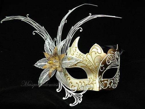 Luxury Ventian Lily Metal Laser Cut Mask - White Gold