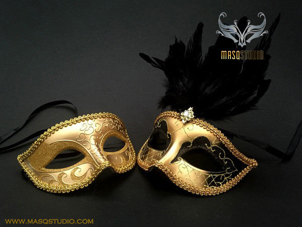 Venetian Couple Feather 50 shades of Grey Black Gold Masquerade Mask Set