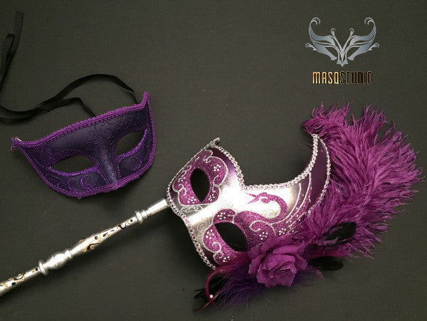 Venetian Couple Feather Masquerade Stick Mask Set Purple Silver