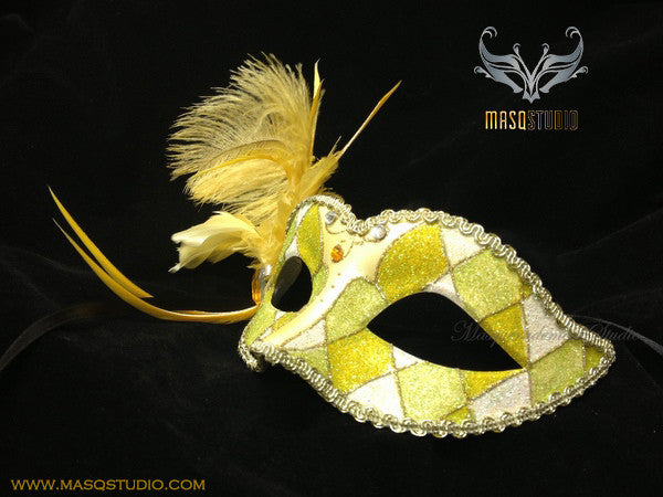 Venetian style side Feather Children Masquerade Ball Mask Yellow