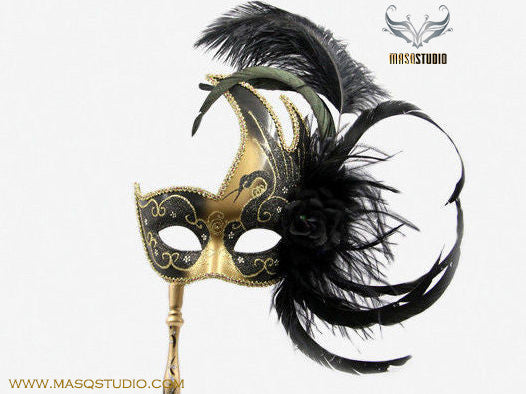 Venetian Style Ostrich Feather Swan Stick Mask - Black Gold