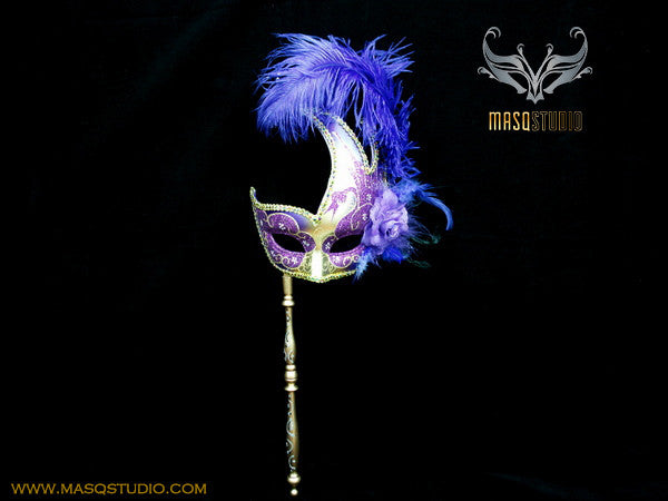 Venetian Style Ostrich Feather Swan Stick Mask - Purple Gold