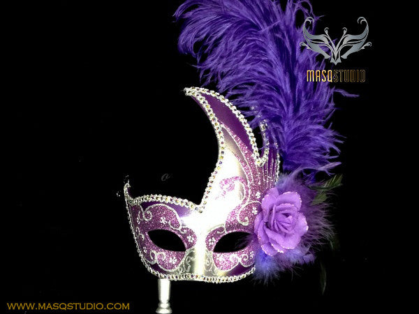 Venetian Style Ostrich Feather Swan Stick Mask - Purple Silver