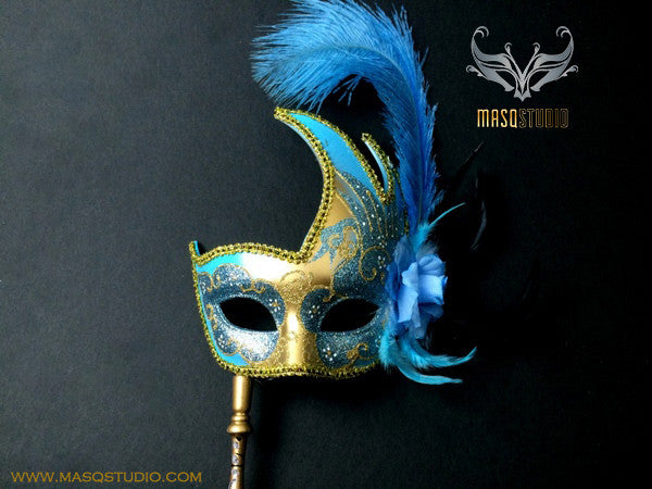 Venetian Style Ostrich Feather Swan Stick Mask - Turquoise Gold