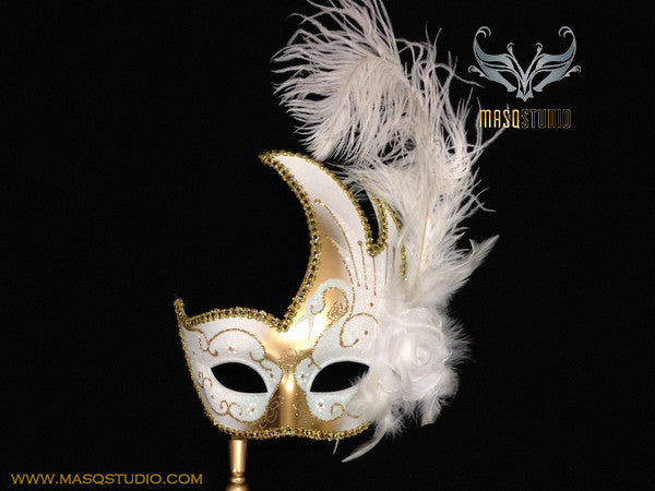 Venetian Style Ostrich Feather Swan Stick Mask - White Gold