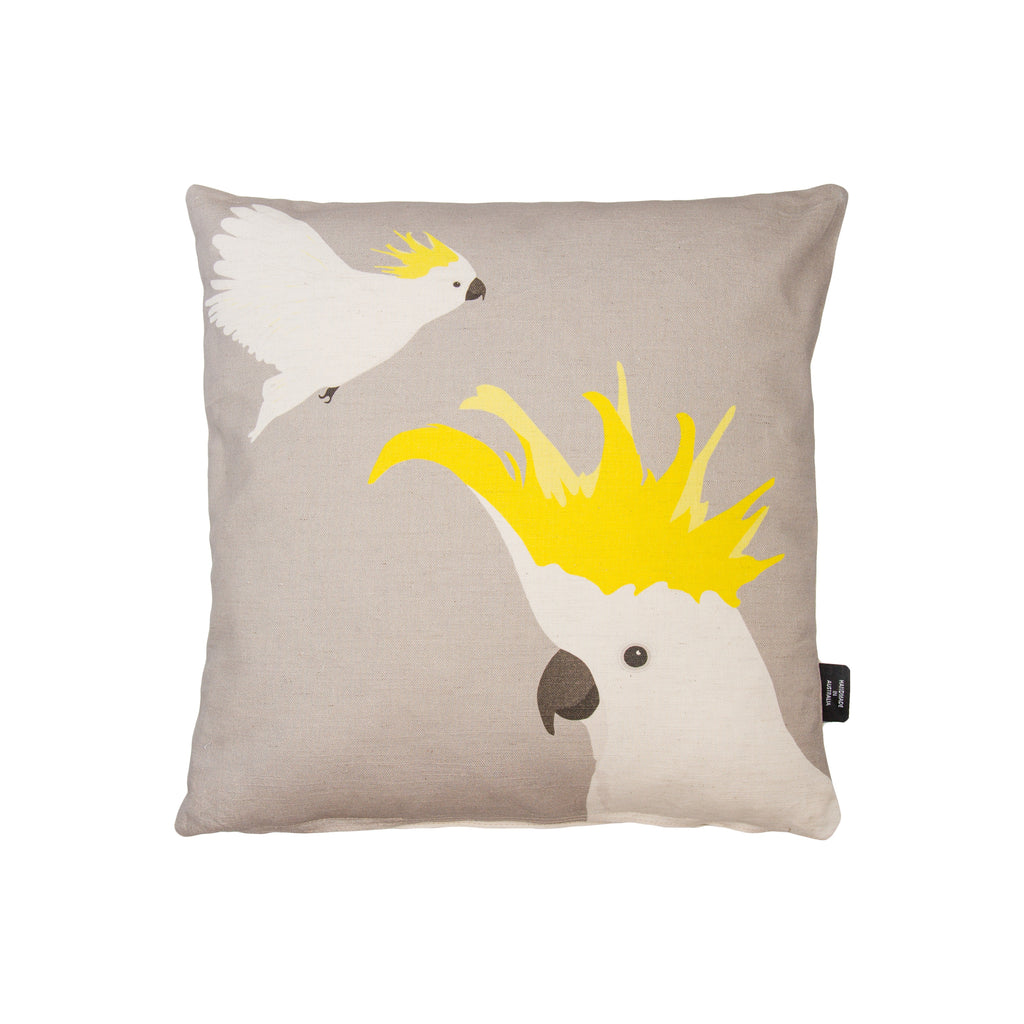 Cockatoo Cushion in warm grey and yellow by Cockatoo Collection