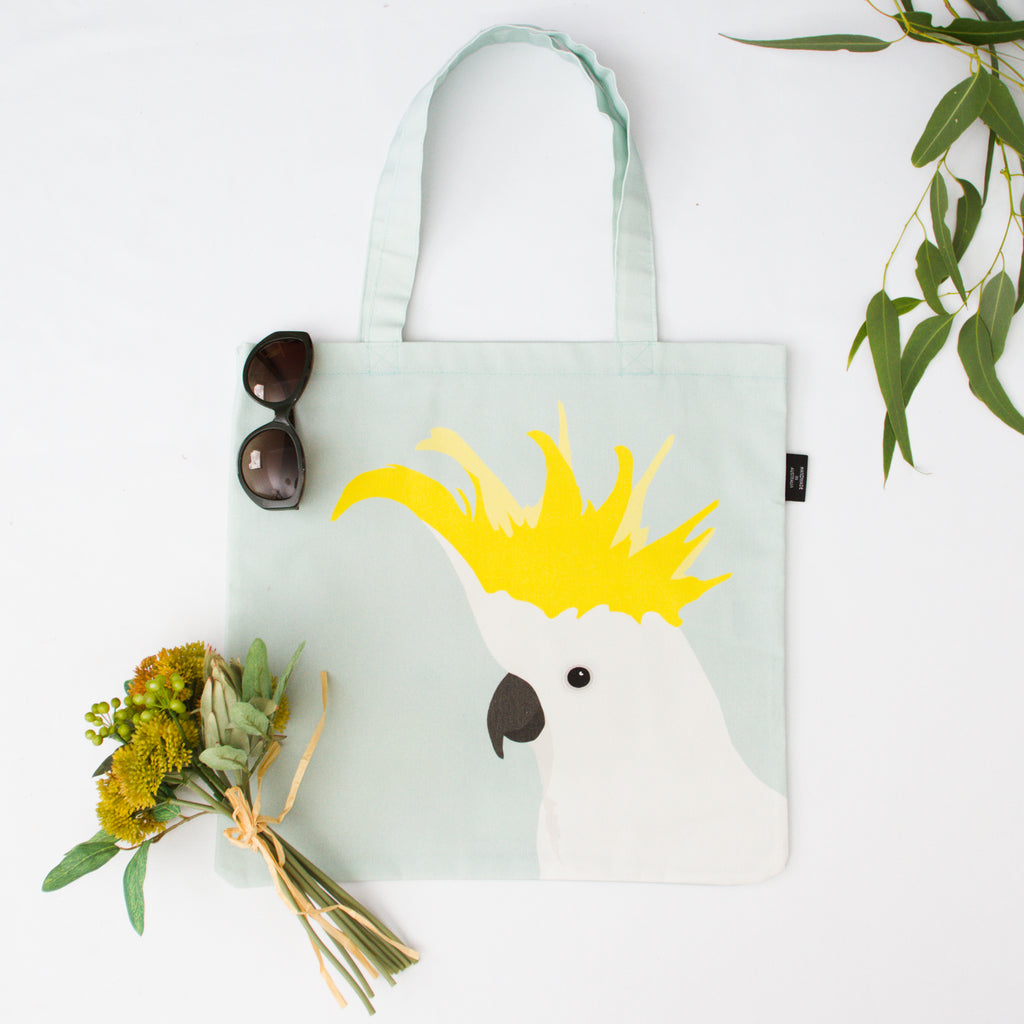 Cockatoo Canvas Bag in fresh mint by Cockatoo Collection. Ethically made in Australia