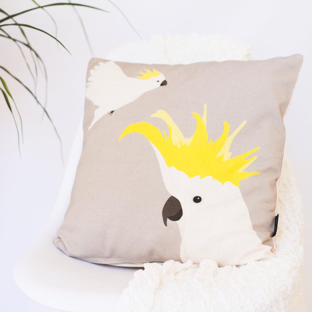 Cockatoo Cushion Ethically handmade in Australia by Cockatoo Collection