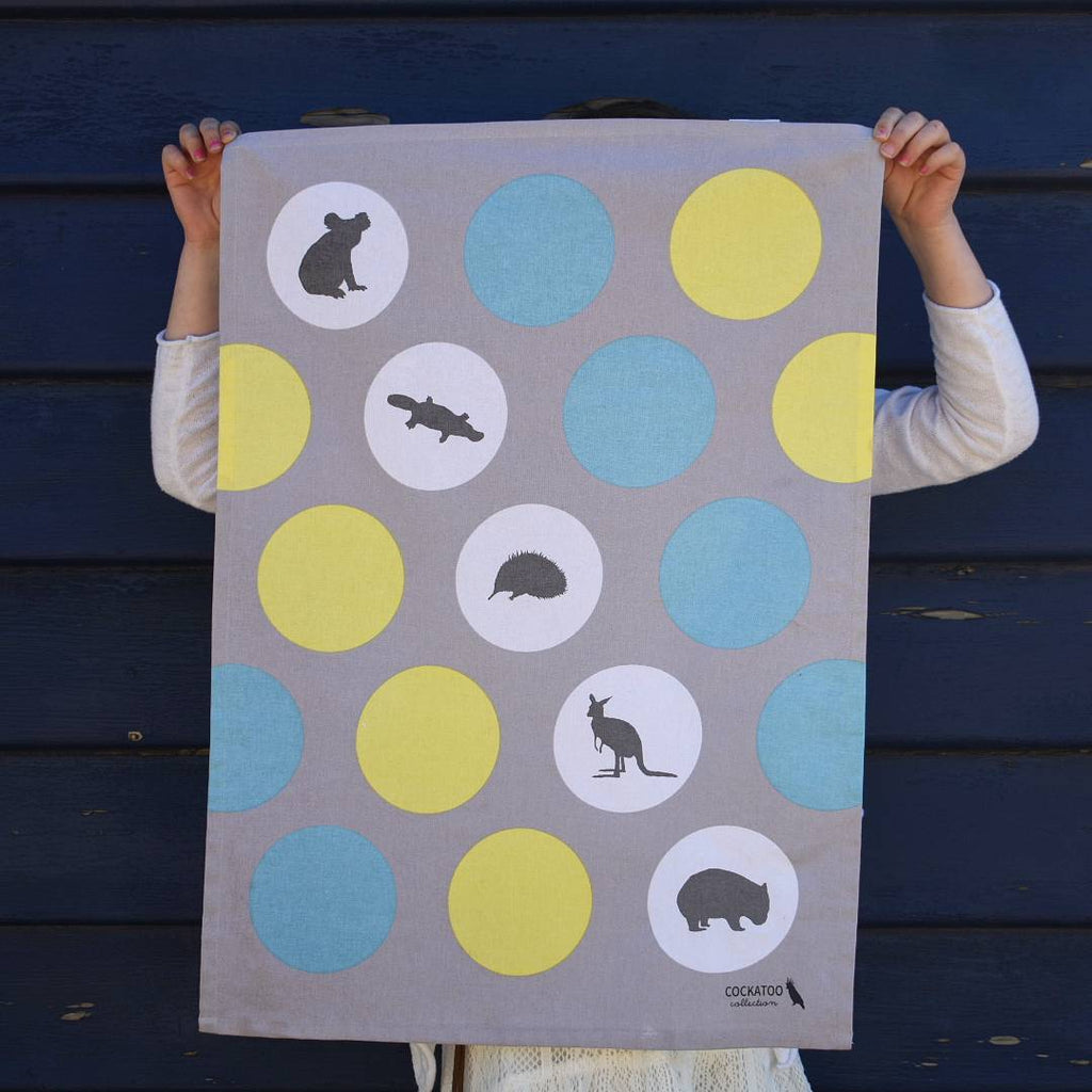 FIVE ICONIC AUSSIES TEA TOWEL
