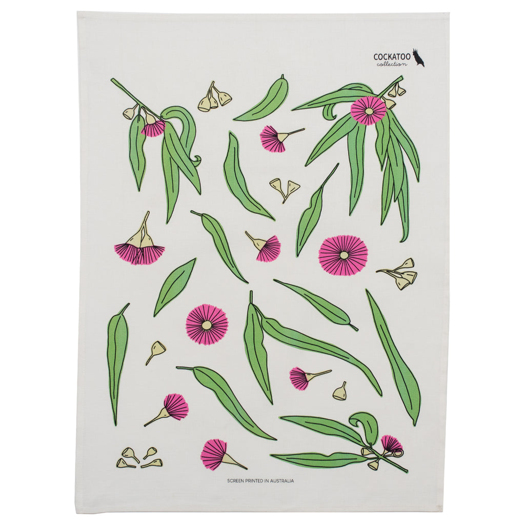 Eucalyptus Bloom Tea Towel by Cockatoo Collection - Australiana Gift / Australian Souvenir