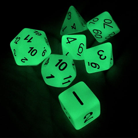 7-pc. Dice Set Glow in the Dark Green