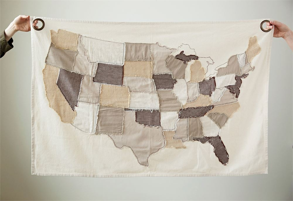 Cotton stitched map