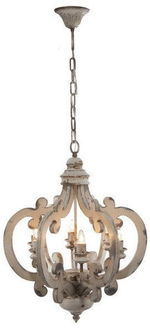 White Distressed 6 Light Chandelier - Out of the Woodwork Designs