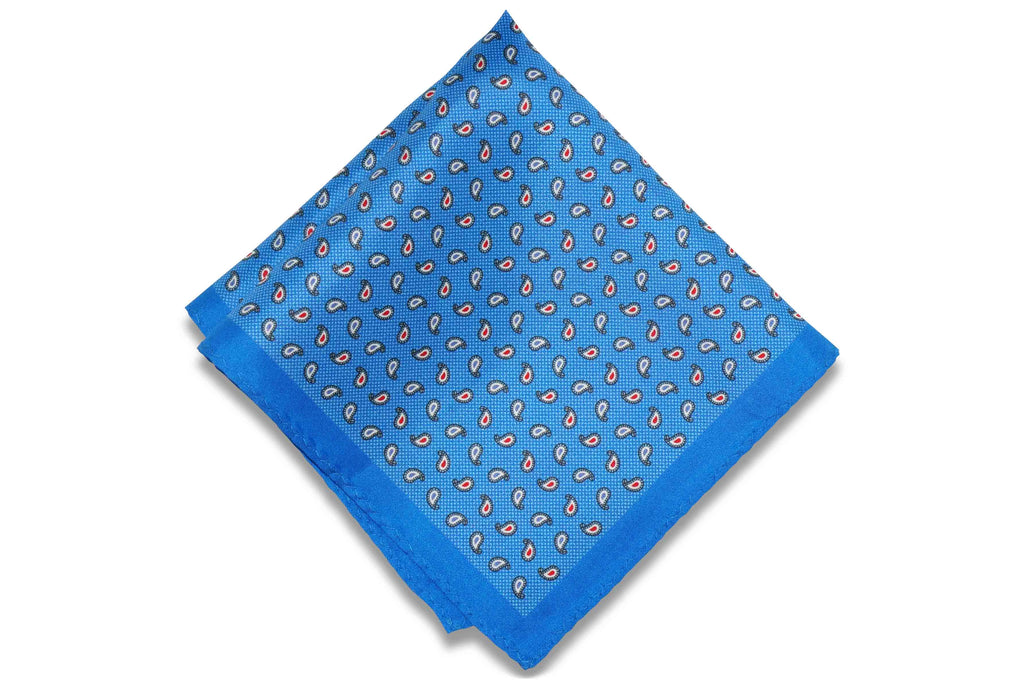 Baby Blue Paisley Silk Pocket Square