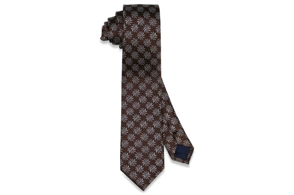 Brown Fan Flowers Silk Skinny Tie