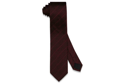 Burgundy Stripes Silk Skinny Tie