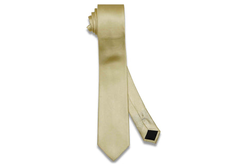 Butter Yellow Herringbone Silk Skinny Tie