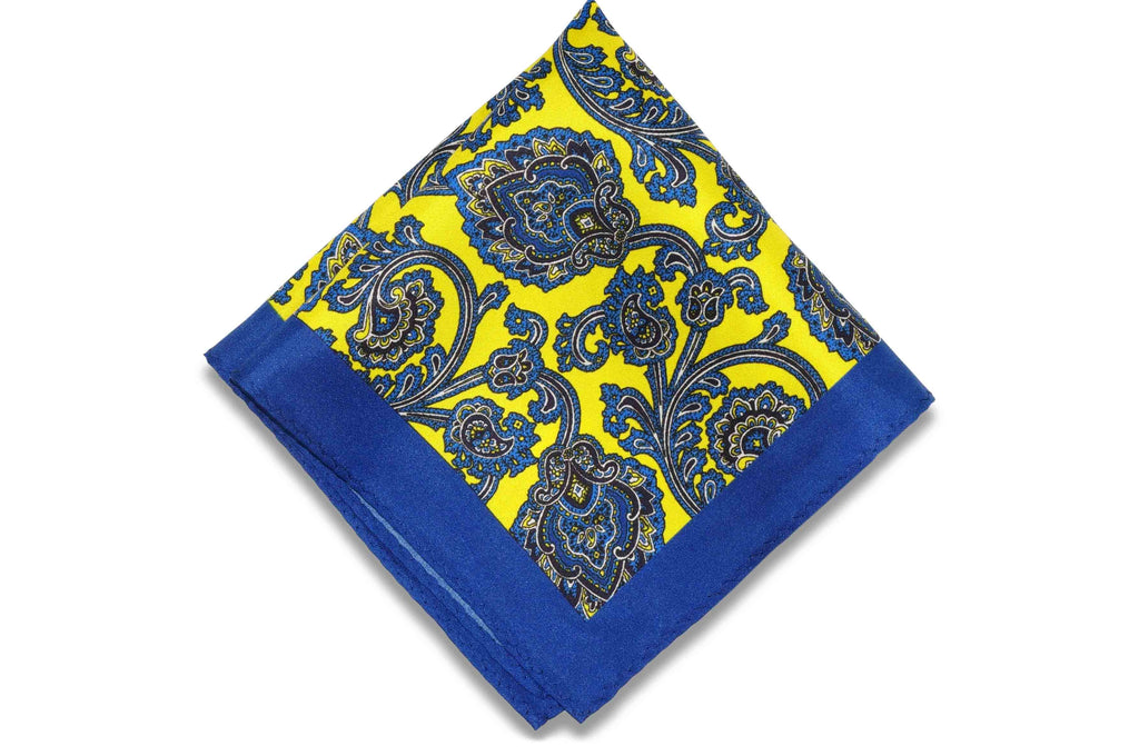 Garden Blue Silk Pocket Square