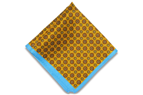Medal Mustard Silk Pocket Square