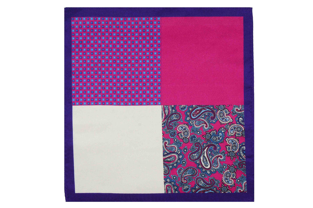 Multi Pattern Purple Silk Pocket Square