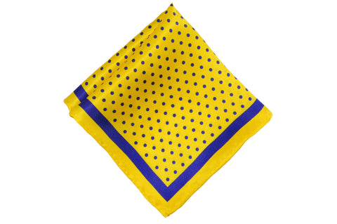 Yellow Blue Dotted Silk Pocket Square