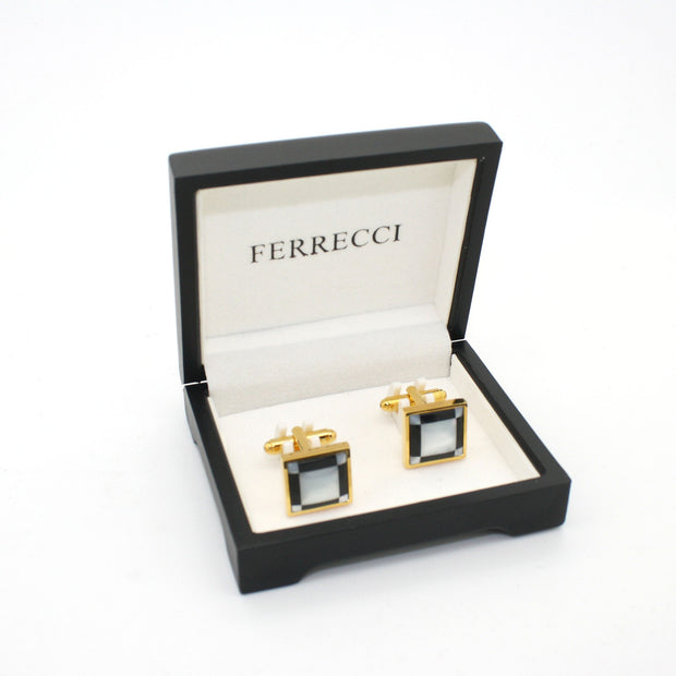 Goldtone Black and White Square Cuff Links With Jewelry Box
