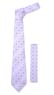 Ferrecci Mens Geometric, Floral, Stripe Necktie with Handkerchief Set
