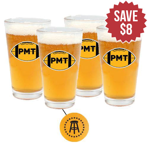 PMT Football Guys Pint Glass 4 Pack