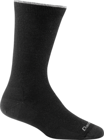 Darn Tough Vermont Women's Solid Crew Light Cushion Hiking Socks, Black, Small (4.5-7)