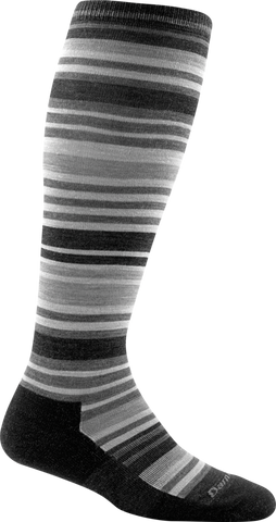 Darn Tough Striped Knee High Light Cushion Socks - Women's Charcoal Small