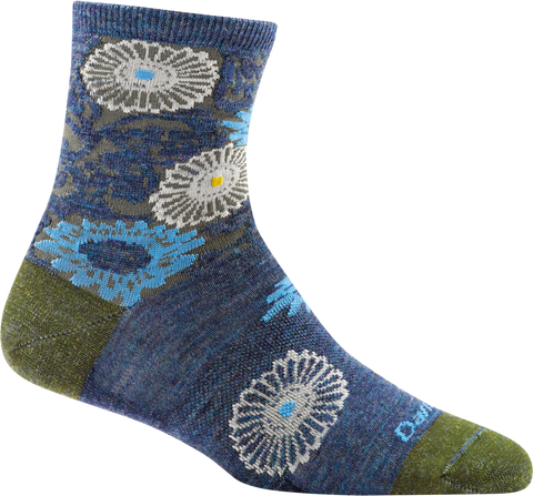 Darn Tough Floral Shorty Light Sock - Women's Denim Small
