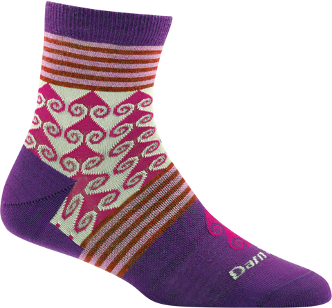 Darn Tough Swirl Print Shorty Light Sock - Women's Purple Small