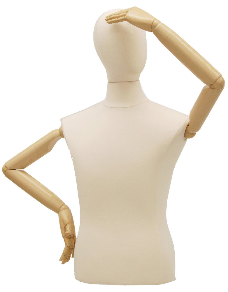 Male Dress Form with Bendable Arms: White Jersey, Black Wood Tripod Base
