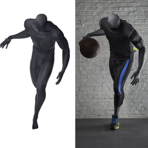 Basketball Playing Headless Male Mannequin: Matte Grey