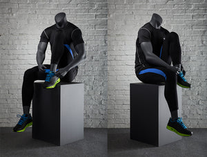 Sports Headless Male Mannequin  Putting on Shoes: Matte Gray