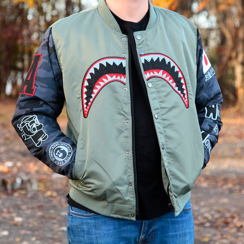 SHARK BITE BOMBER JACKET - OLIVE